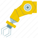 automate, industrial, machine, manufacture, robot, robotic arm, robotic hand icon