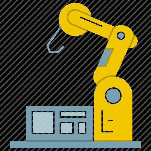 auto, automate, industrial, machine, manufacture, robot, robotic hand icon