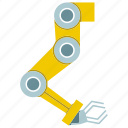 arm, automate, machine, manufacture, mechanical, robot, robotic hand icon