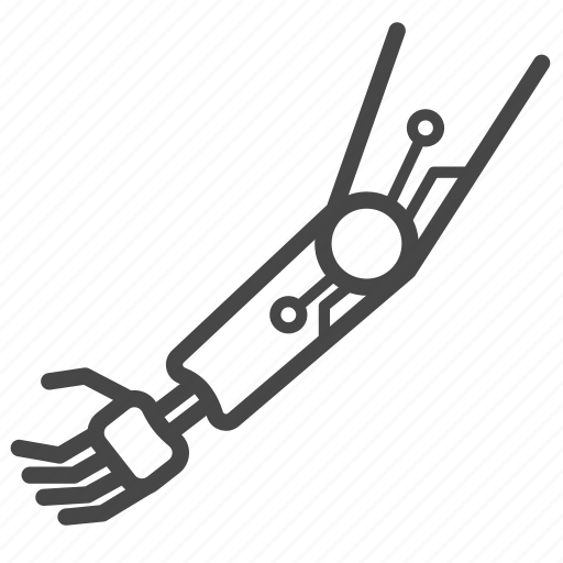 artificial, automaton, cyborg, futuristic, hand, robot, robotic icon