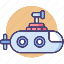 mini submarine, sub, submarine icon