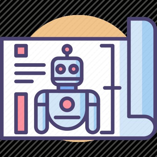 robot blueprint, robot plan, robotic plan, robotic project icon