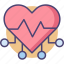 cyber heart, heart, techno, techno heart icon