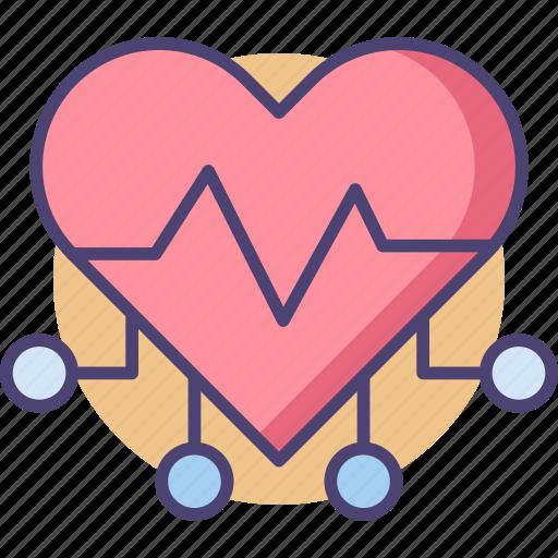 cyber heart, heart, techno, techno heart icon
