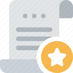 bill, document, favorite, file, payment, roll, star icon