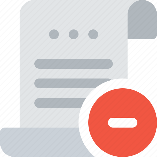 bill, document, file, minus, payment, remove, roll icon