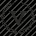 count, five, laurel, number, place, roman, v