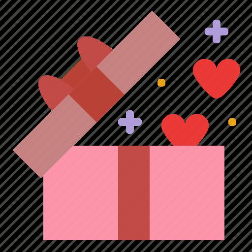 box, gift, heart, romance icon