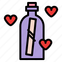 bottle, letter, love, romance