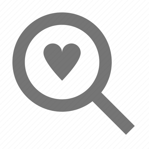 find, heart, love, magnifier, magnify, search icon