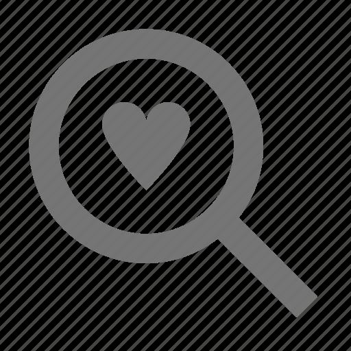 heart, love, magnify, search icon
