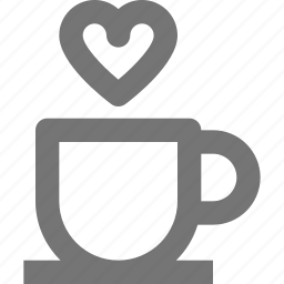 beverage, coffee, cup, heart, hot, love, tea icon
