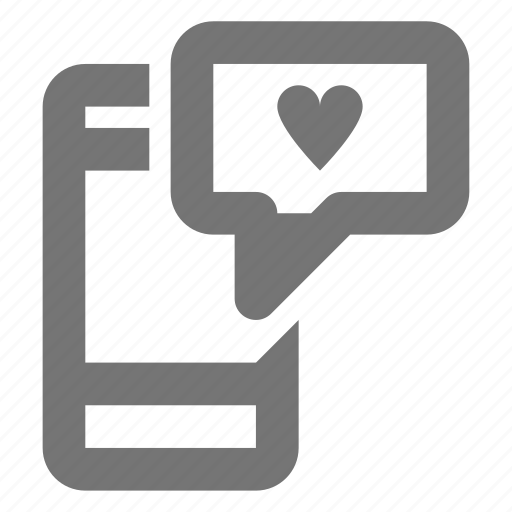 couple, heart, love, message, romantic, smartphone, sms, text icon