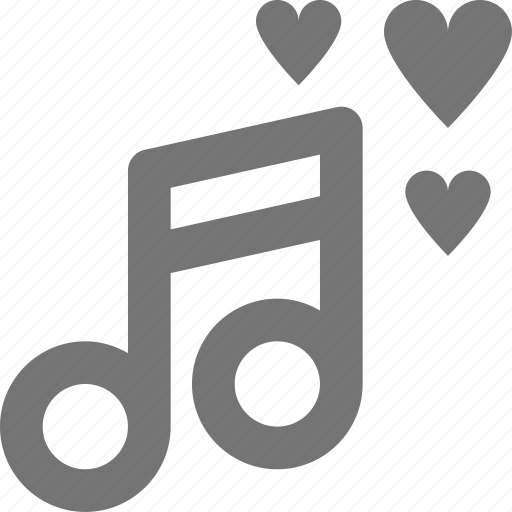 hearts, love, media, music, note, play, romantic, song icon