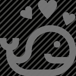 hearts, love, whale icon