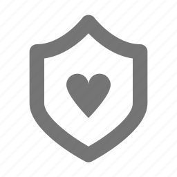 heart, love, security, shield icon