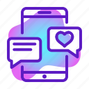 chat, conversation, heart, love, message, romance, wedding icon