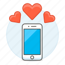 3, application, dating, heart, love, notification, online, phone, romance, smartphone icon