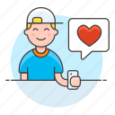 app, bubble, dating, firting, happy, heart, love, man, message, romance, smartphone, speech, text icon