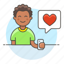 bubble, happy, app, romance, smartphone, firting, heart, text, love, man, speech, dating, message icon