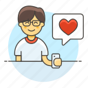 firting, message, heart, romance, text, bubble, smartphone, happy, love, dating, speech, man, app icon