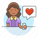 app, bubble, dating, firting, happy, heart, love, message, romance, smartphone, speech, text, woman icon