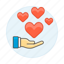 hand, love, romance, keeping, share, heart, 2, giving icon