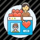1, application, choose, dating, female, like, online, partner, profile, romance, window icon