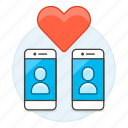 app, application, dating, heart, match, online, pairing, phone, romance, smartphone icon