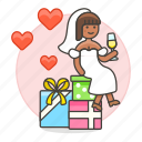 bride, celebration, champagne, gifts, marriage, party, romance, spouse, wedding, wife icon
