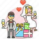 bride, celebration, couple, gifts, groom, marriage, party, romance, spouse, wedding icon