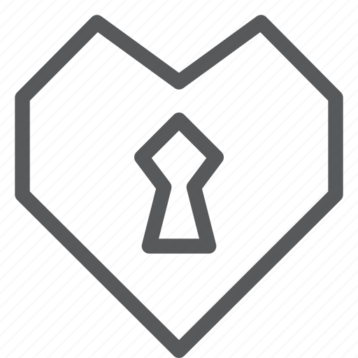 heart, hide, keyhole, lock, love, private, romance icon