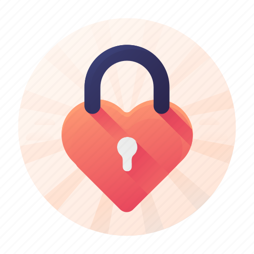 dating, heart, lock, privacy icon