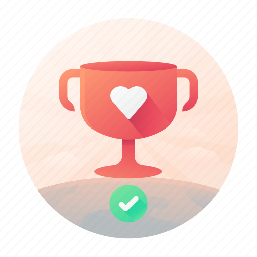 confirm, dating, heart, trophy icon