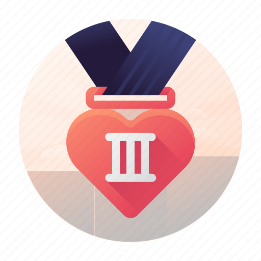 dating, medal, place, third icon