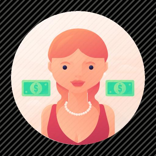 dating, finance, money, woman icon