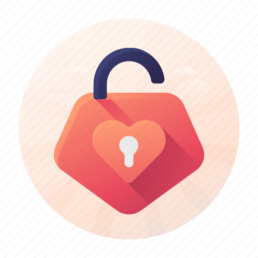 Dating, heart, lock, privacy, unlock icon - Download on Iconfinder
