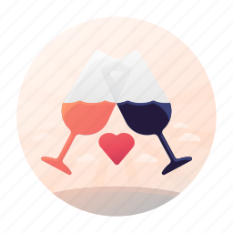 dating, drink, glasses, toast icon