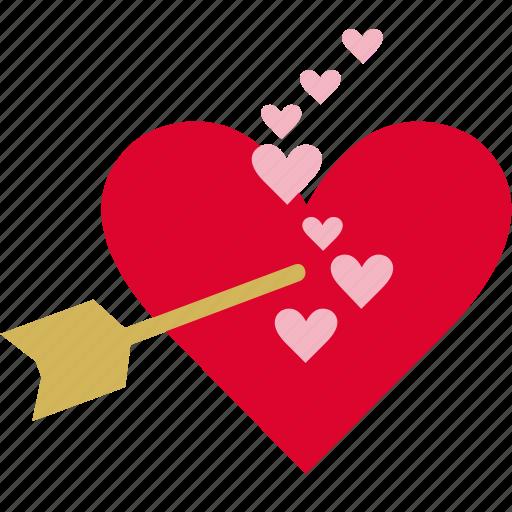<3, arrow, cupid, fall in love, heart, romance, true love icon