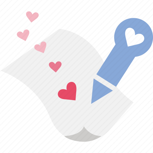 letter, love, pen, romance, romantic, write icon