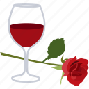 date, romance, romantic, rose, wine icon