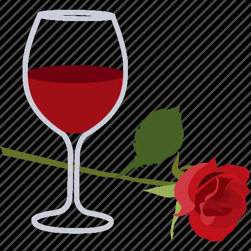 date, romance, romantic, rose, wine icon
