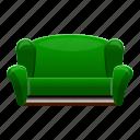 furniture, green, home, interior, retro, sofa