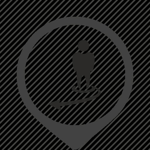 arrow, go, location, motion, person, way icon