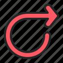 indicator, directional, arrows, arrow, curve, loop icon