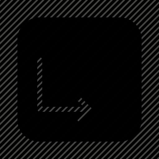arrow, arrows, corner, direction, down, move icon