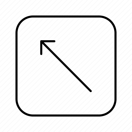 arrow, diagonal, direction, left, move, thin, up icon