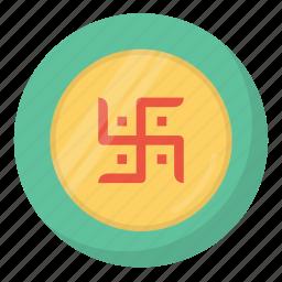coin, diwali, festival, hindu, indian, laxmi, swastik icon