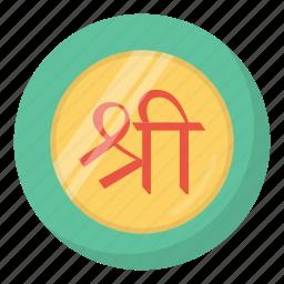coin, diwali, festival, hindu, indian, laxmi, shree icon