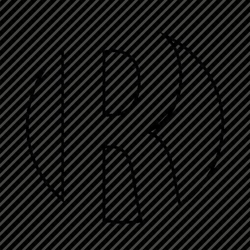 alphabet, english, font, latin, letter, r icon